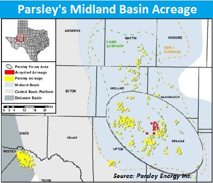 Parsley Energy, Midland Basin, Texas, acquisition, deal, map