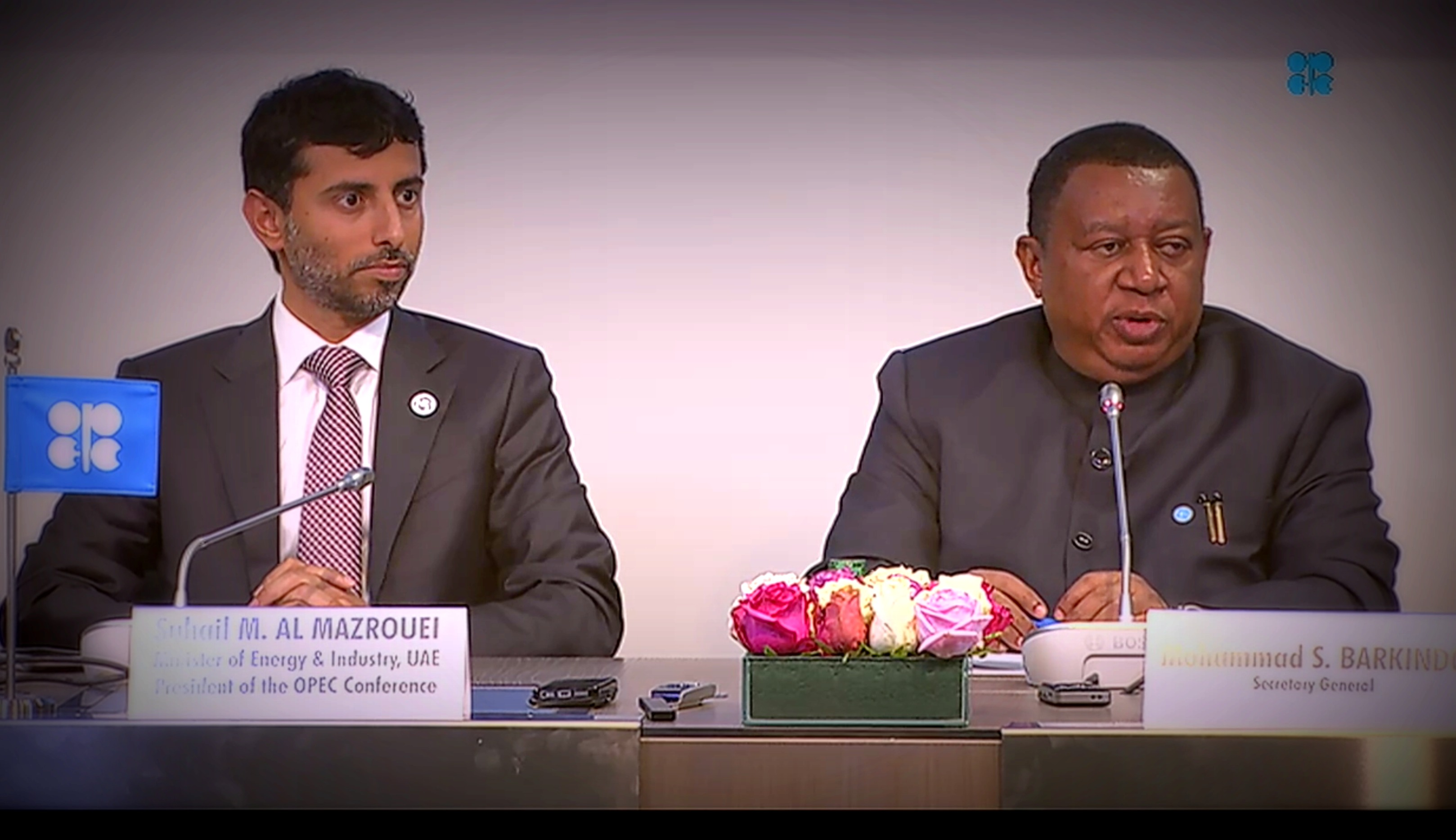 Suhail Mohamed Al Mazrouei, UAE energy minister, and Mohammad Barkindo, OPEC Secretary General, during a press conference following OPEC's 174th meeting in Vienna June 22. (Source: OPEC)