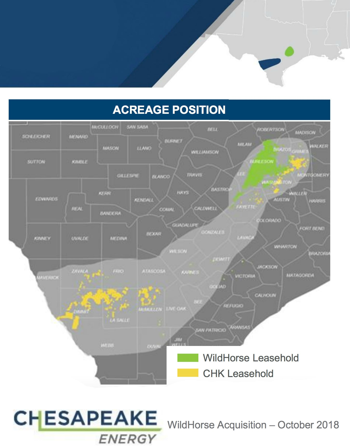Chesapeake Energy / WildHorse Resource Development Acquisition Asset Map (Source: Chesapeake Energy Inc.)
