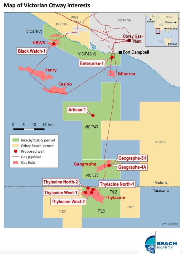 Map Of Victorian Otway Interests (Source: Beach Energy Ltd.)