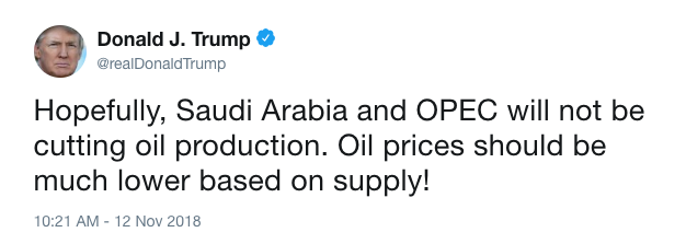 Hopefully, Saudi Arabia and OPEC will not be cutting oil production. Oil prices should be much lower based on supply! (Source: @realDonaldTrump/Twitter)