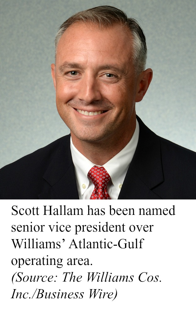 Scott Hallam has been named senior vice president over Williams' Atlantic-Gulf operating area.