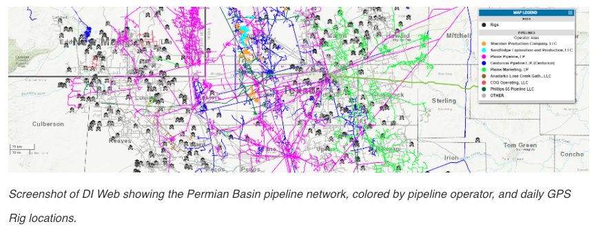 Screenshot of DI Web showing the Permian Basin pipeline network, colored by pipeline operator, and daily GPS Rig locations. (Source: Drillinginfo)