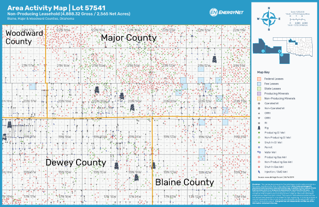 89 Energy Oklahoma Properties Blaine, Major And Woodward Counties Asset Map (Source: EnergyNet)