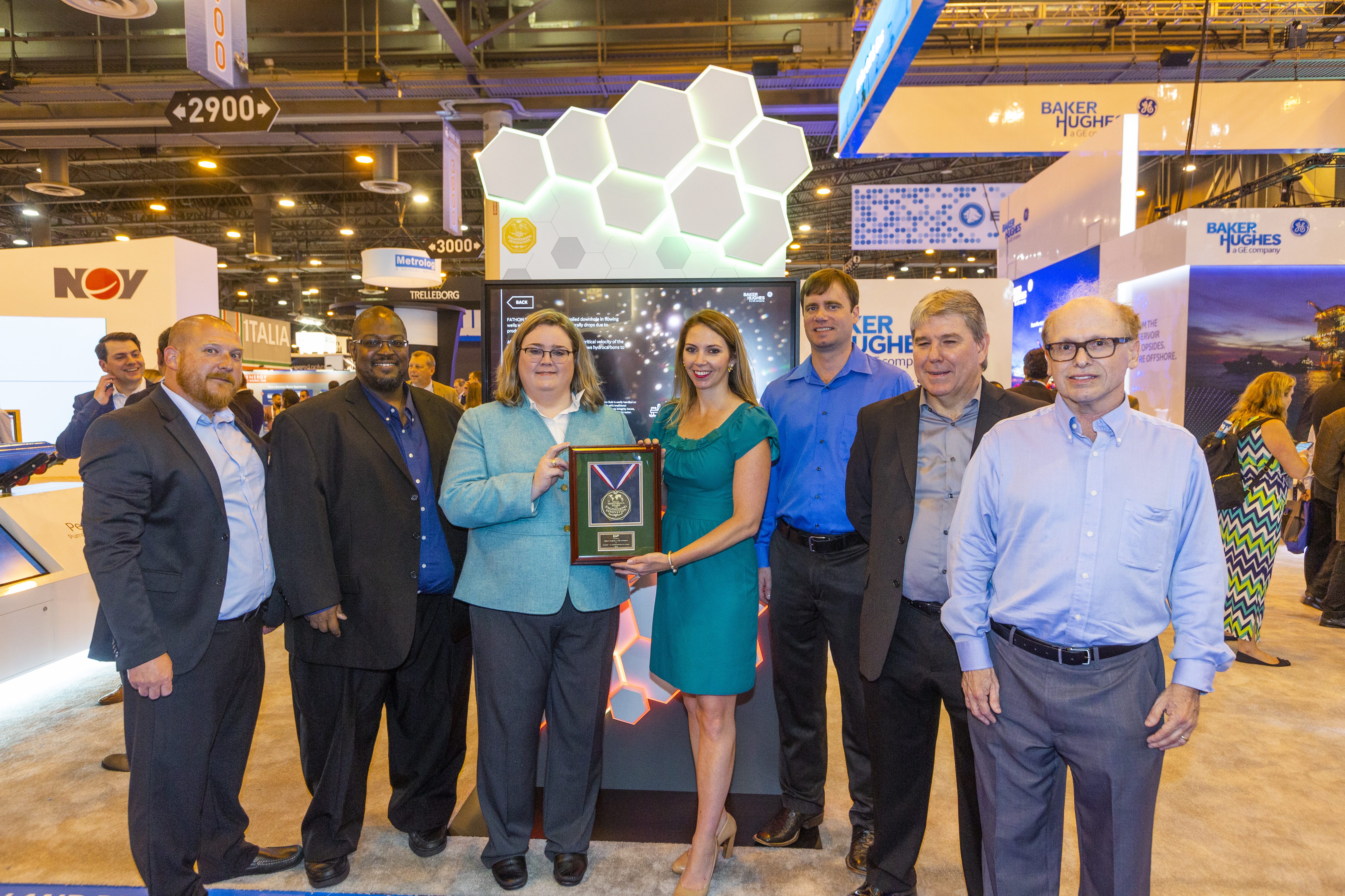 In the IOR/EOR/remediation category, the FATHOM XT SUBSEA226 Black Oil Foamer from Baker Hughes, a GE company, garnered the award. Pictured from left to right are Tim Garza, James Outlaw, E&P's Jennifer Presley, Bailey Donovan, Justin Kuzniarek, Paul Stead and Scott Lehrer.