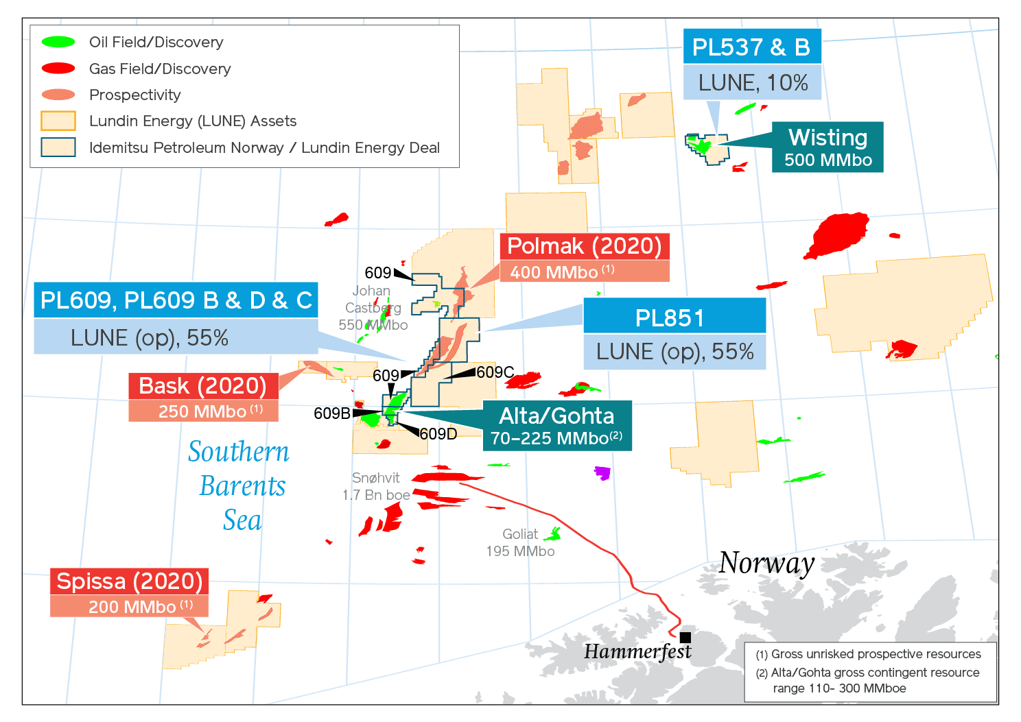 Map of certain Lundin Energy Barents Sea licenses, including the post IPN transaction interests
