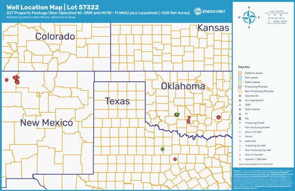 C. W. Bolin Properties New Mexico, Oklahoma, Texas Asset Map (Source: EnergyNet)
