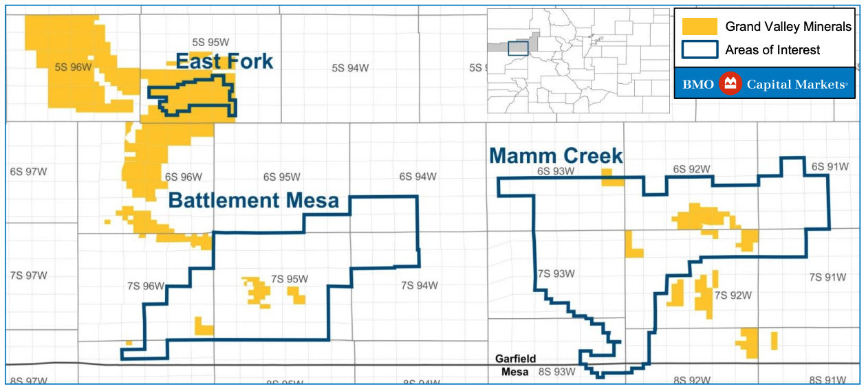 Caerus Piceance Basin Minerals Asset Map (Source: BMO Capital Markets Corp.)