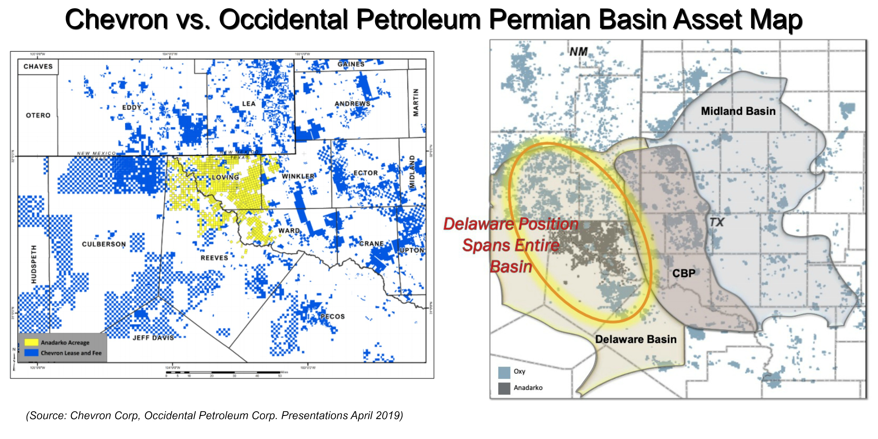 Chevron vs. Occidental Petroleum Permian Basin Asset Map (Source Chevron Corp, Occidental Petroleum Corp. Presentations April 2019)