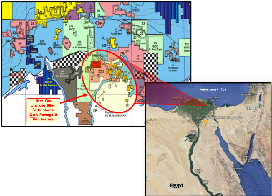 Dana Gas Egypt onshore Nile Delta asset map (Source: IPR Energy Group)