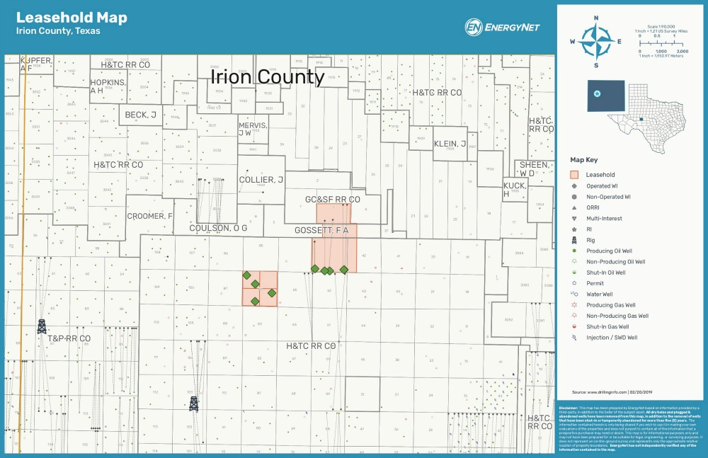 Discovery Natural Resources Permian Leasehold Map - Irion County 56456 (Source EnergyNet)