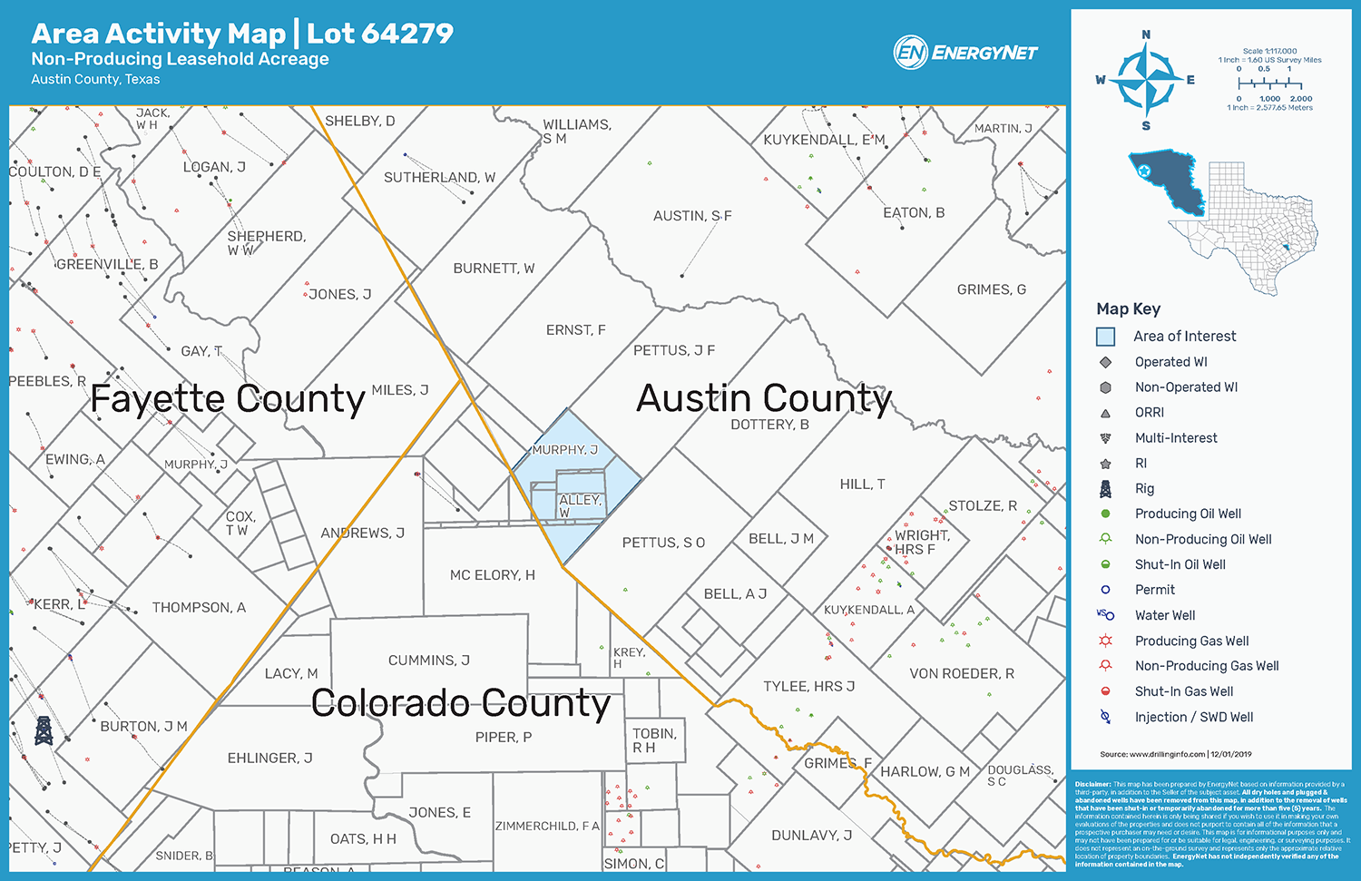 EAS Resources Austin County, Texas, Non-Producing Leasehold Map (Source: EnergyNet)