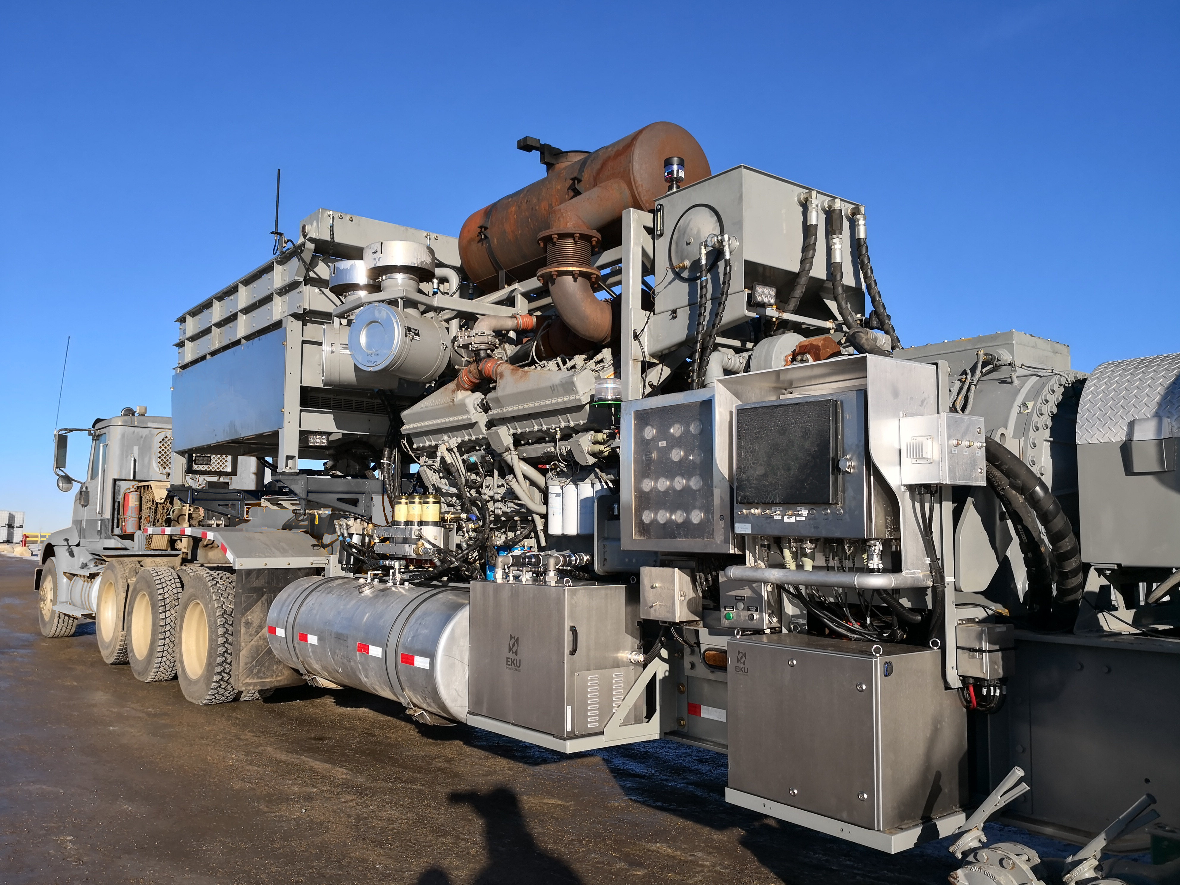 An E&P company's frac pump in North Dakota has EKU systems, an engine standby controller and Vulcan installed.