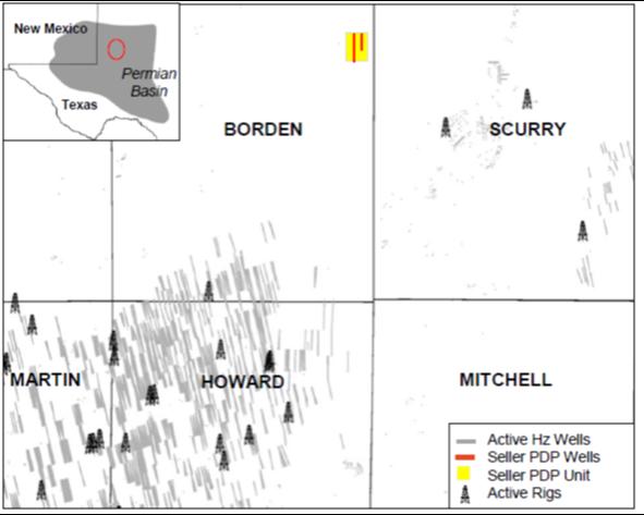 نقشه مشاوران انرژی رودخانه ایگل - بازار فروش دارایی های Midland Basin County در Borden County Texas