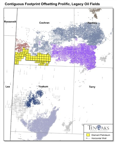 Element Petroleum Contiguous Footprint Offsetting Prolific, Legacy Oil Fields (Source: TenOaks Energy Advisors)