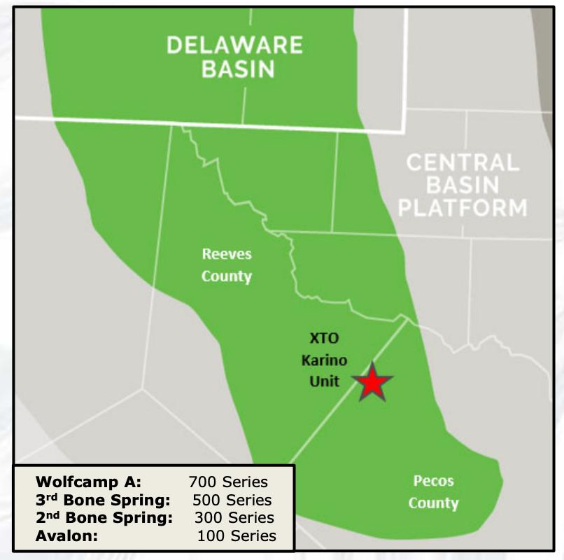 نقشه بازار نیلی EnergyNet - Delaware Basin Working Interest XTO Karino Unit Pecos County Texas