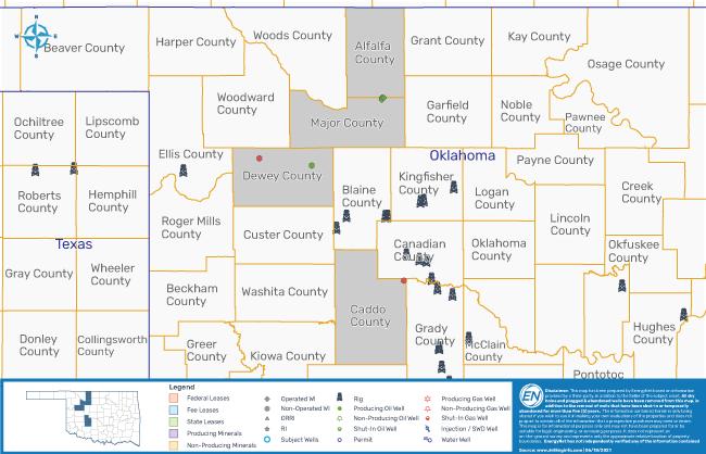 نقشه MarketNet EnergyNet - Armour Energy Mississippian Play Opportunity Oklahoma