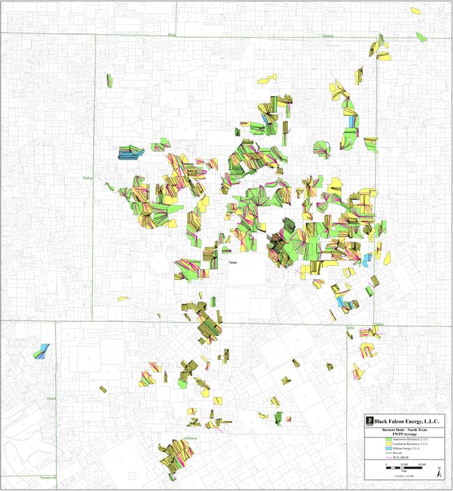 نقشه MarketNet EnergyNet - بسته بهره غیر عملیاتی Black Falcon Energy Barnett Shale
