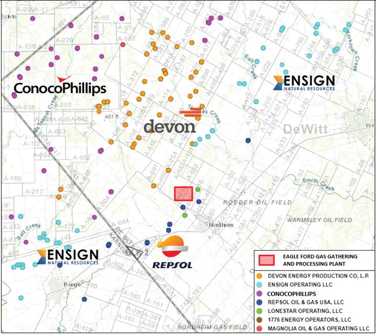نقشه بازار EnergyNet - کارخانه تجمع و پردازش گاز ایگل فورد