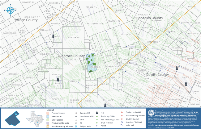 EnergyNet Marketed Map - JL Capital Ventures Eagle Ford Austin Chalk Well Package Karnes County Texas