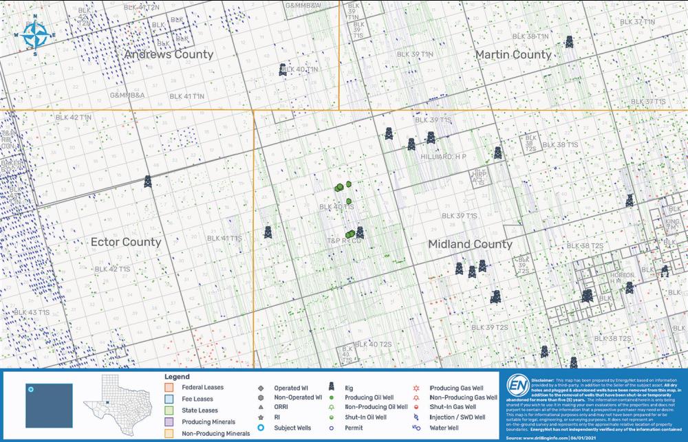 نقشه MarketNet EnergyNet - بسته چاه Pivotal Petroleum Midland Basin