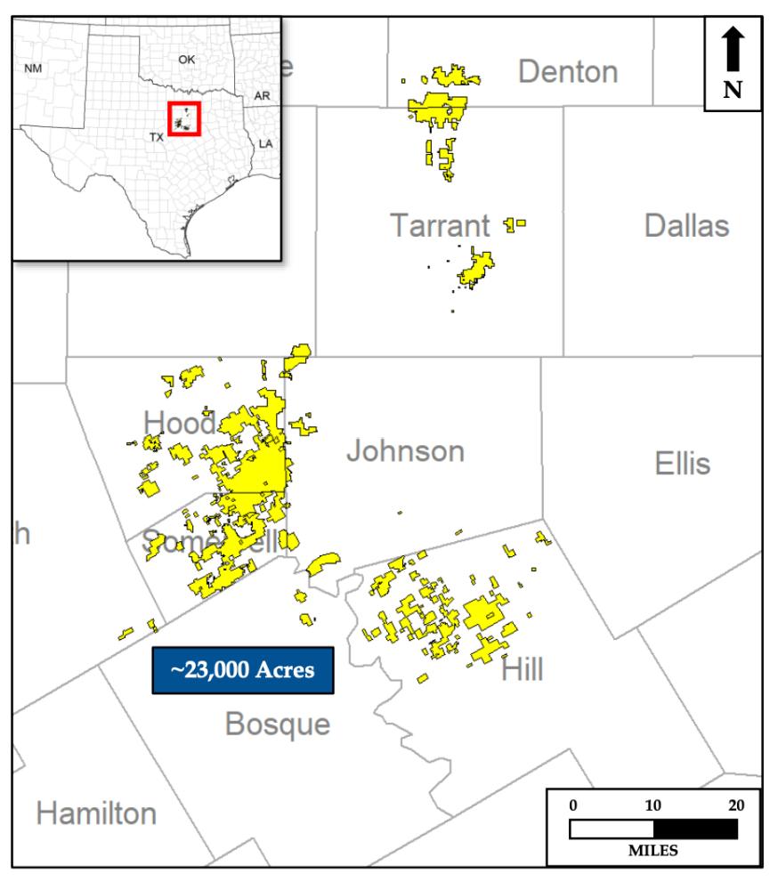 نقشه دارایی اکتساب نفت Evolution Petroleum Tokya Gas Barnett Shale