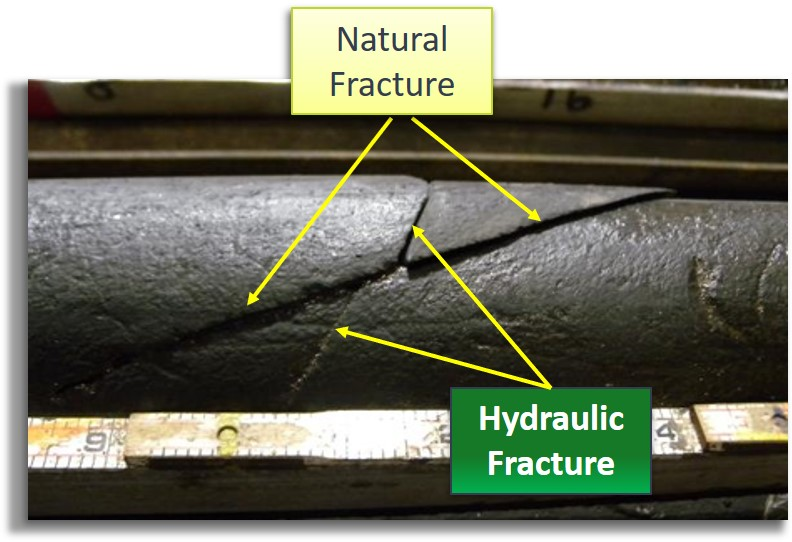 Core samples from HFTS 1 show unique distinctions between natural fractures and those produced via hydraulic fracturing. (Source: NETL)