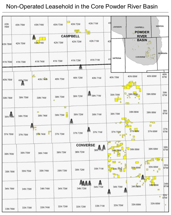 Finley Resources Nonoperated Powder River Basin Asset Map (Source: Eagle River Energy Advisors LLC)