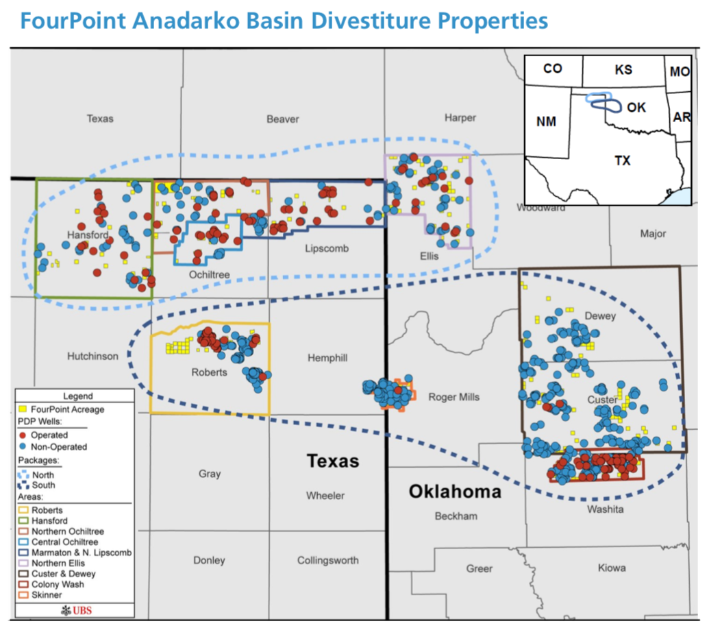 FourPoint Anadarko Basin Noncore Asset Map (Source: UBS Securities LLC)