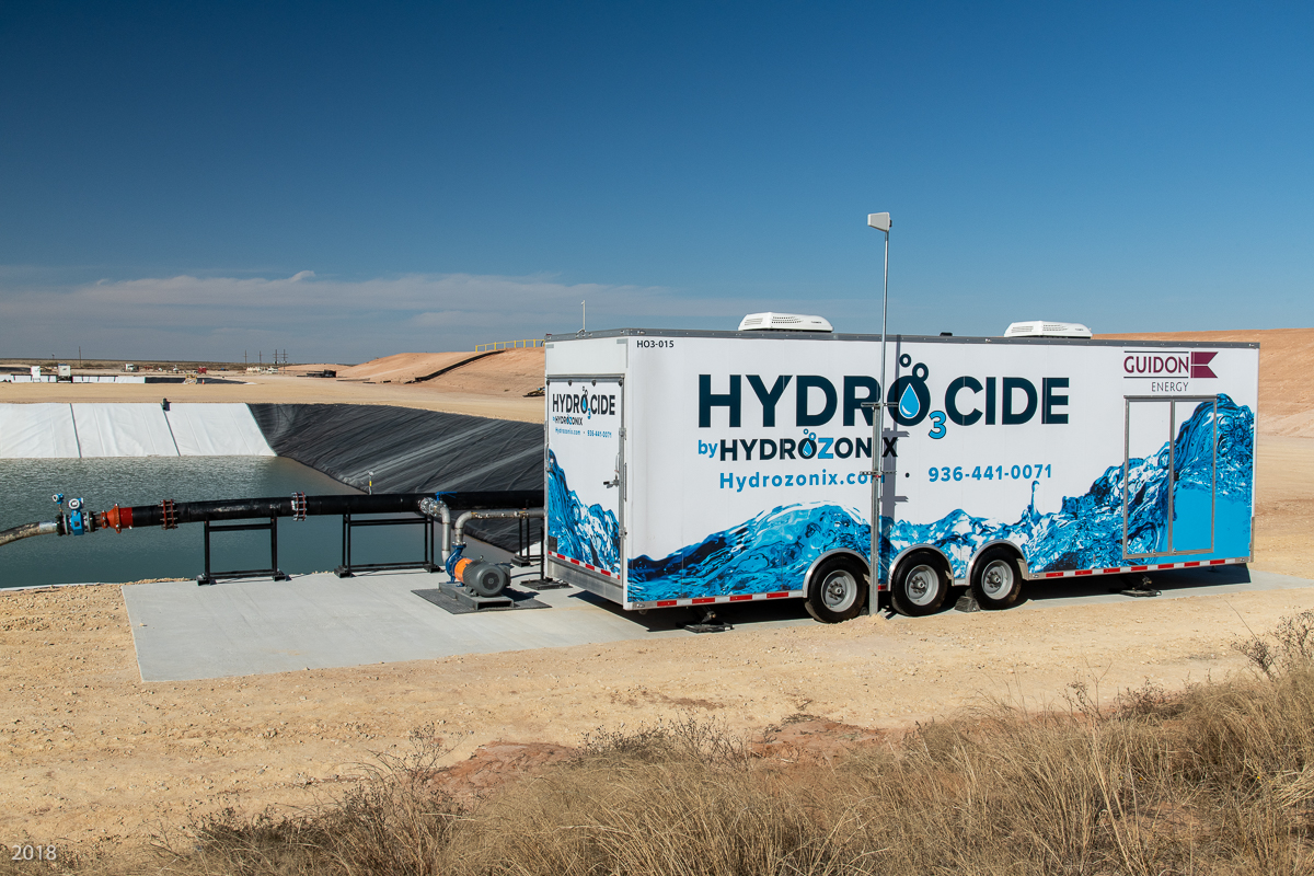 The HYDRO3CIDE automated oxidation system is shown at a produced water recycle facility. (Source: Hydrozonix)