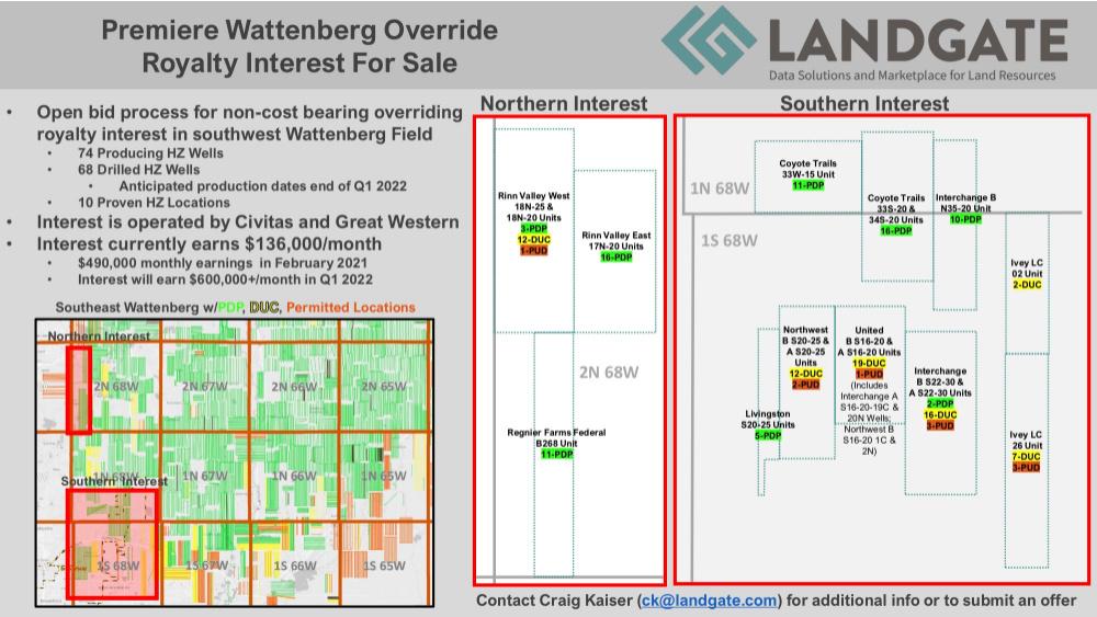 آگهی فروش LandGate - بسته Wattenberg ORRI در Weld County ، کلرادو