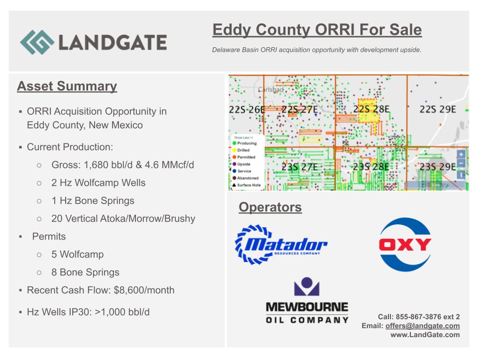 تیزر بازاریابی LandGate - Eddy County ORRI حوضه پرمیان نیومکزیکو