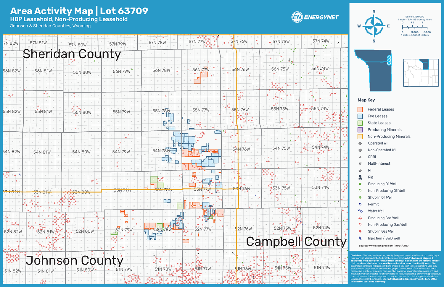 Lot 63709: Johnson and Sheridan Counties, Wyoming Asset Map (Source: EnergyNet)