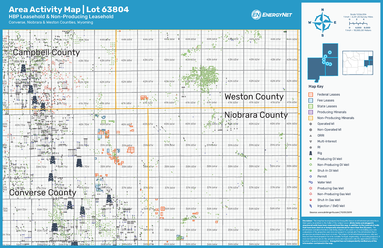 Lot 63804: Powder River Basin Opportunity Asset Map (Source: EnergyNet)