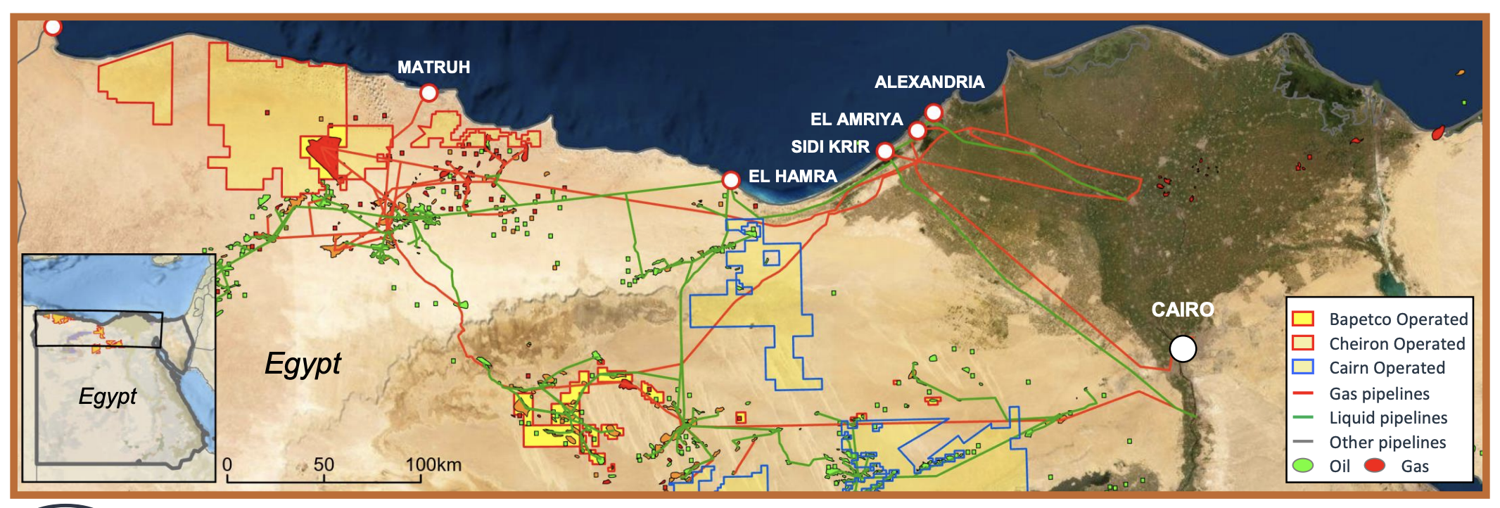 نقشه دارایی های مصر خشکی (منبع: Cairn Energy Plc Investor Presentation)