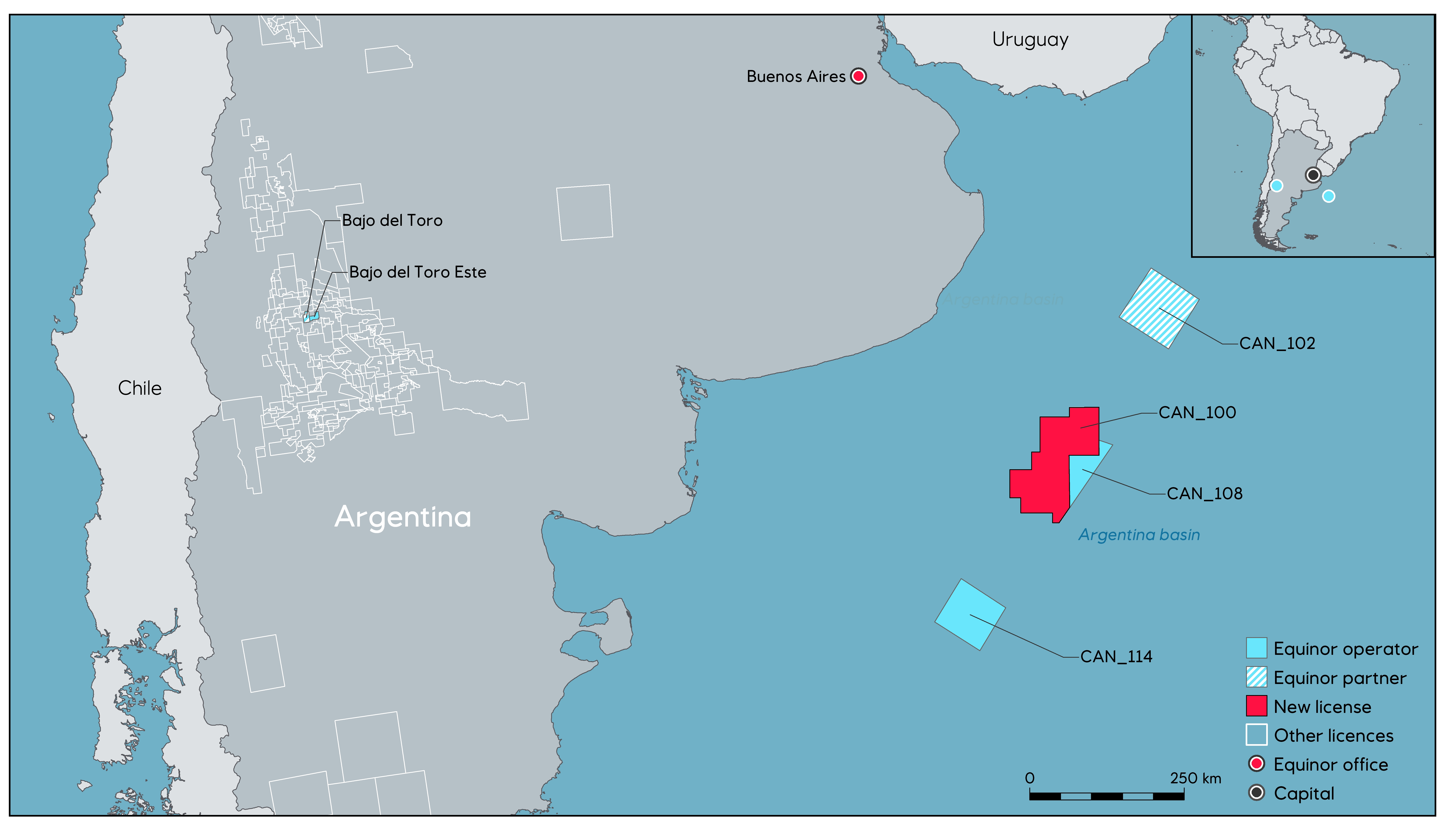 Map of the CAN 100 block in the Argentinian Basin (Source: Equinor ASA)