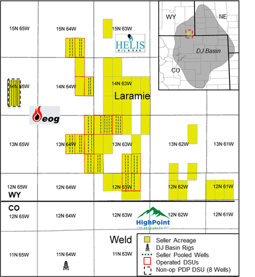 Marketed: Operated Acquisition / Farm-in Opportunity in Wyoming D-J Basin Map Eagle River Energy Advisors