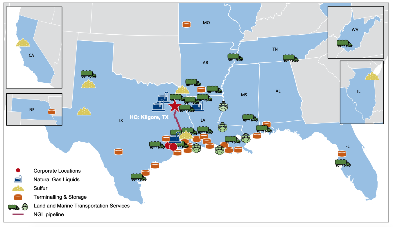 Martin Midstream Gulf Coast-centric Asset Map (Source: Martin Midstream Partners LP July 2019 Investor Presentation)