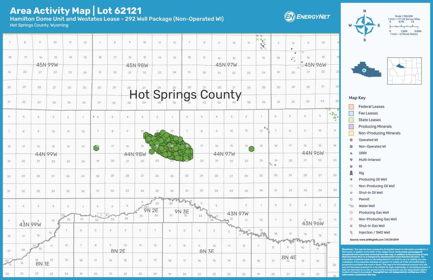 Merit Energy-Operated Wyoming Well Package Asset Map, Hot Springs County (Source: EnergyNet)