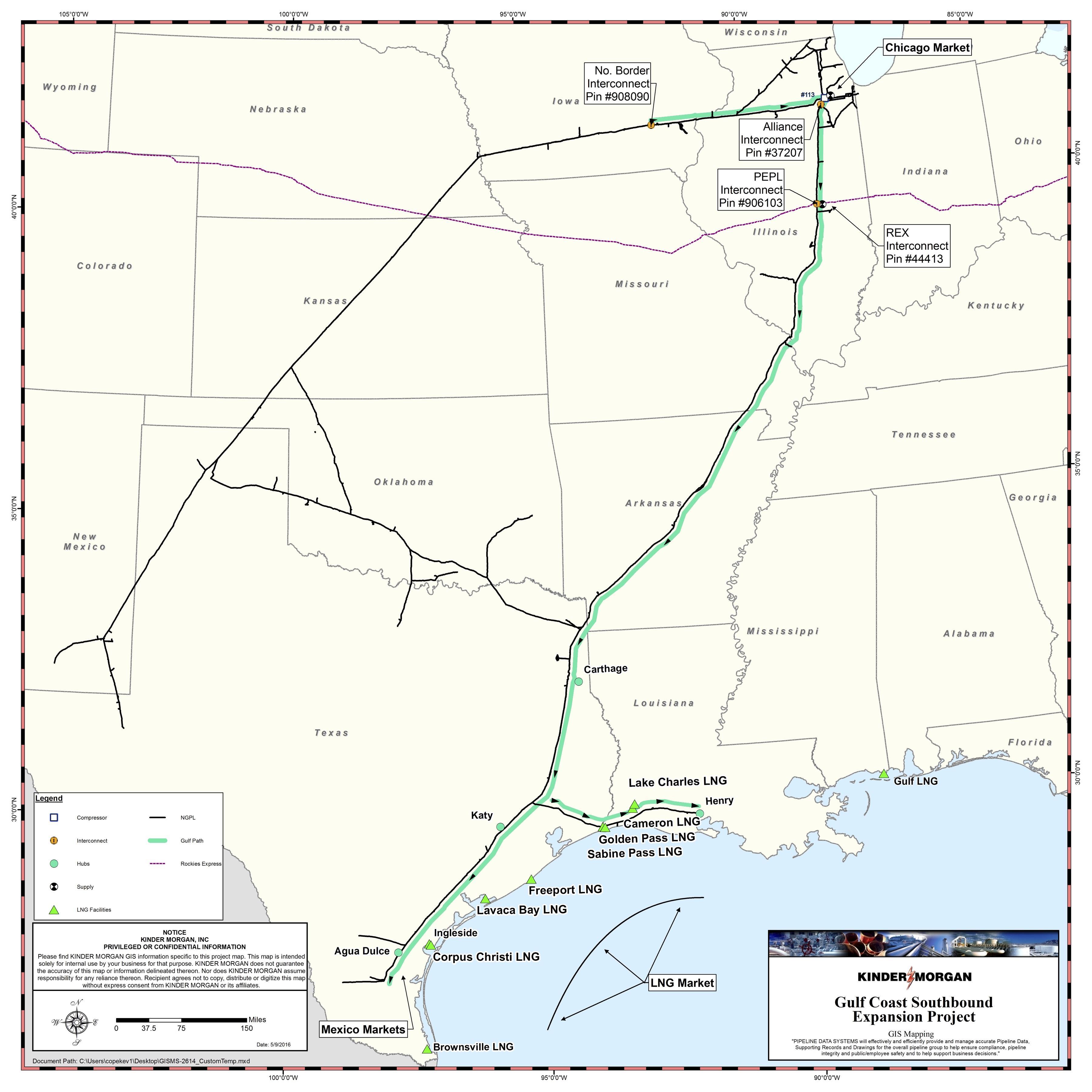 نقشه پروژه توسعه NGPL Gulf Coast Southbound (منبع: Kinder Morgan Inc.)