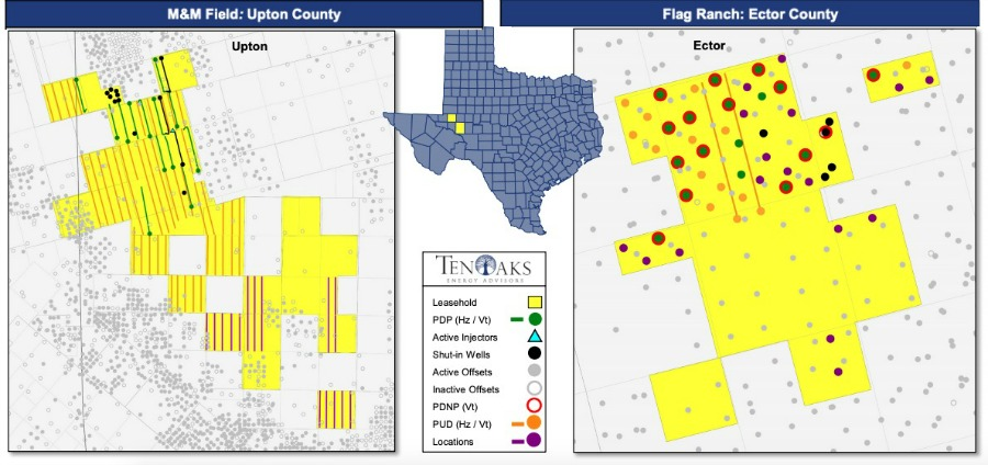 Operated Central Basin Platform Properties Asset Map (Source: TenOaks Energy Advisors)