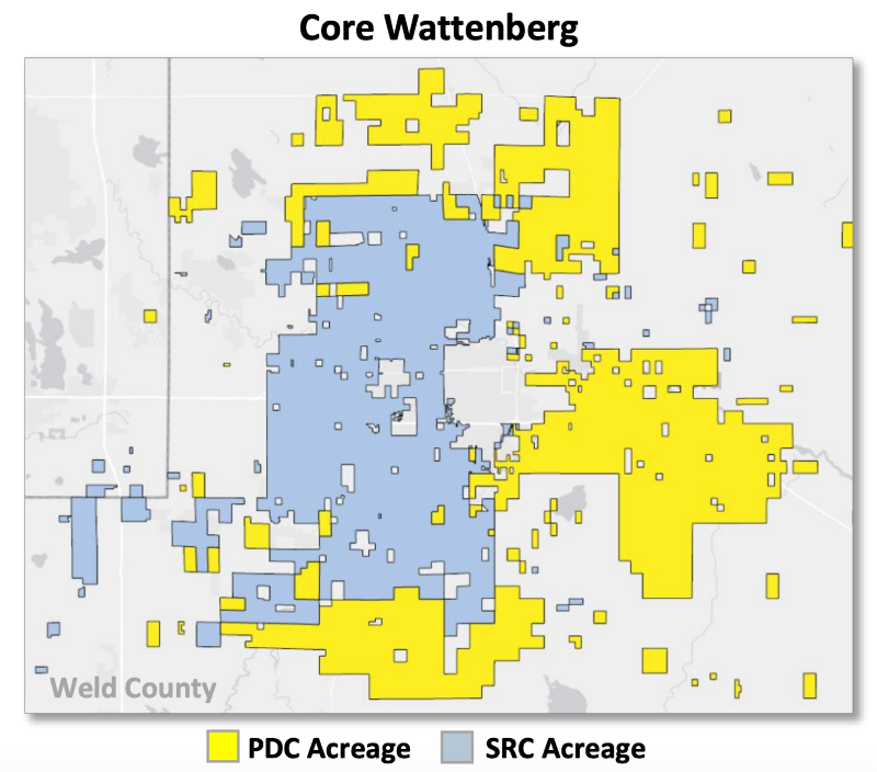 PDC, SRC Energy All-Stock Combination D-J Basin Asset Map (Source: PDC Energy Inc. August 26, 2019 Investor Presentation)