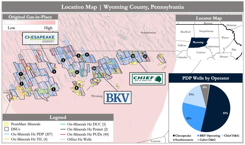 PetroDivest Advisors نقشه فروش - موقعیت PennMarc منابع Appalachia ORRI