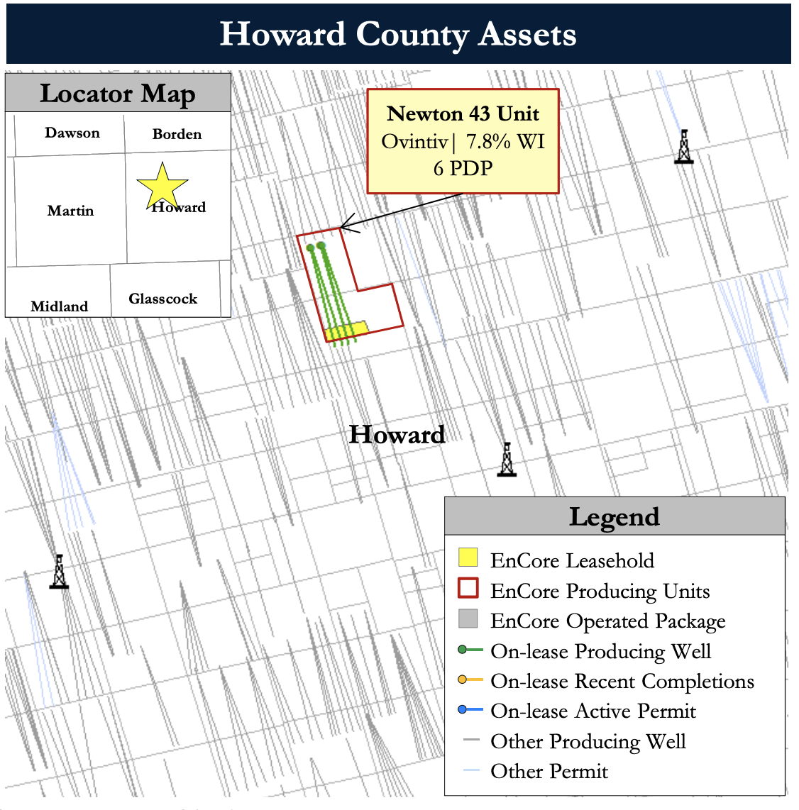 PetroDivest Marketed - EnCore Permian Operated Leasehold, Minerals Opportunity Howard County Asset Map