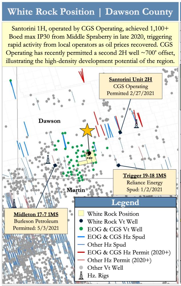 نقشه PetroDivest به بازار عرضه شد - White Rock Oil and Gas Midland Basin Development Dawson County Texas
