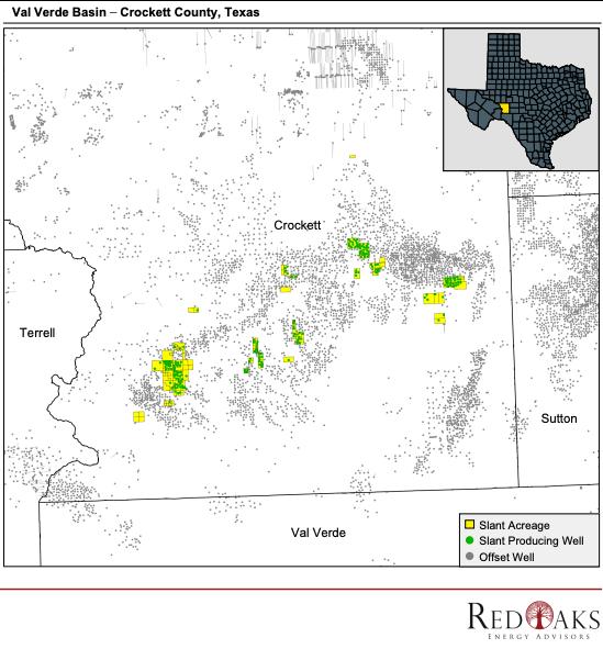 نقشه مشاوران انرژی RedOaks - بازار فروش - Slant Energy Crockett County Texas Operated Divestitur