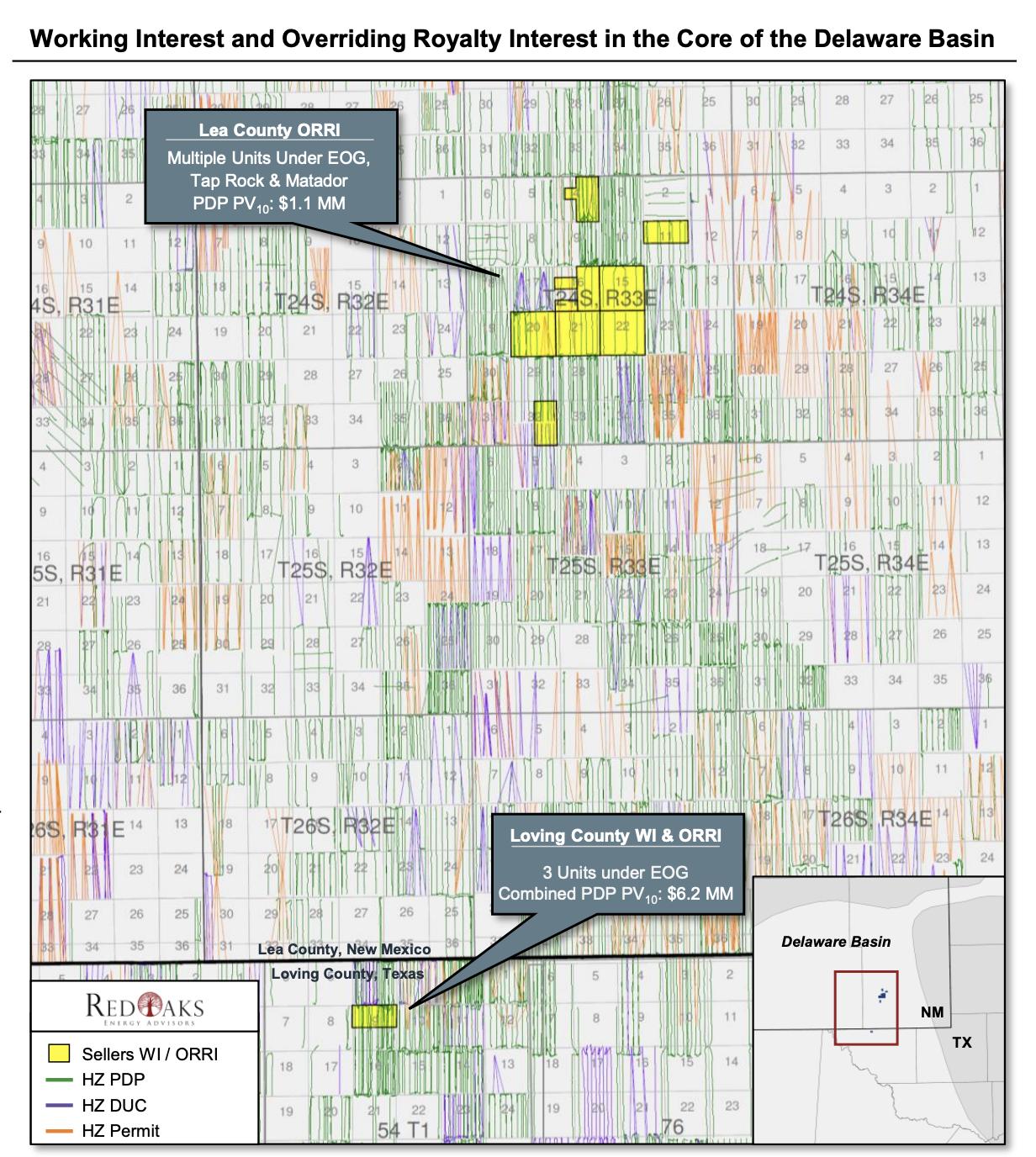 مشاوران انرژی RedOaks نقشه به بازار عرضه کردند _ Tessara Petroleum Resources خصوصی فروشنده بسته Delaware Basin