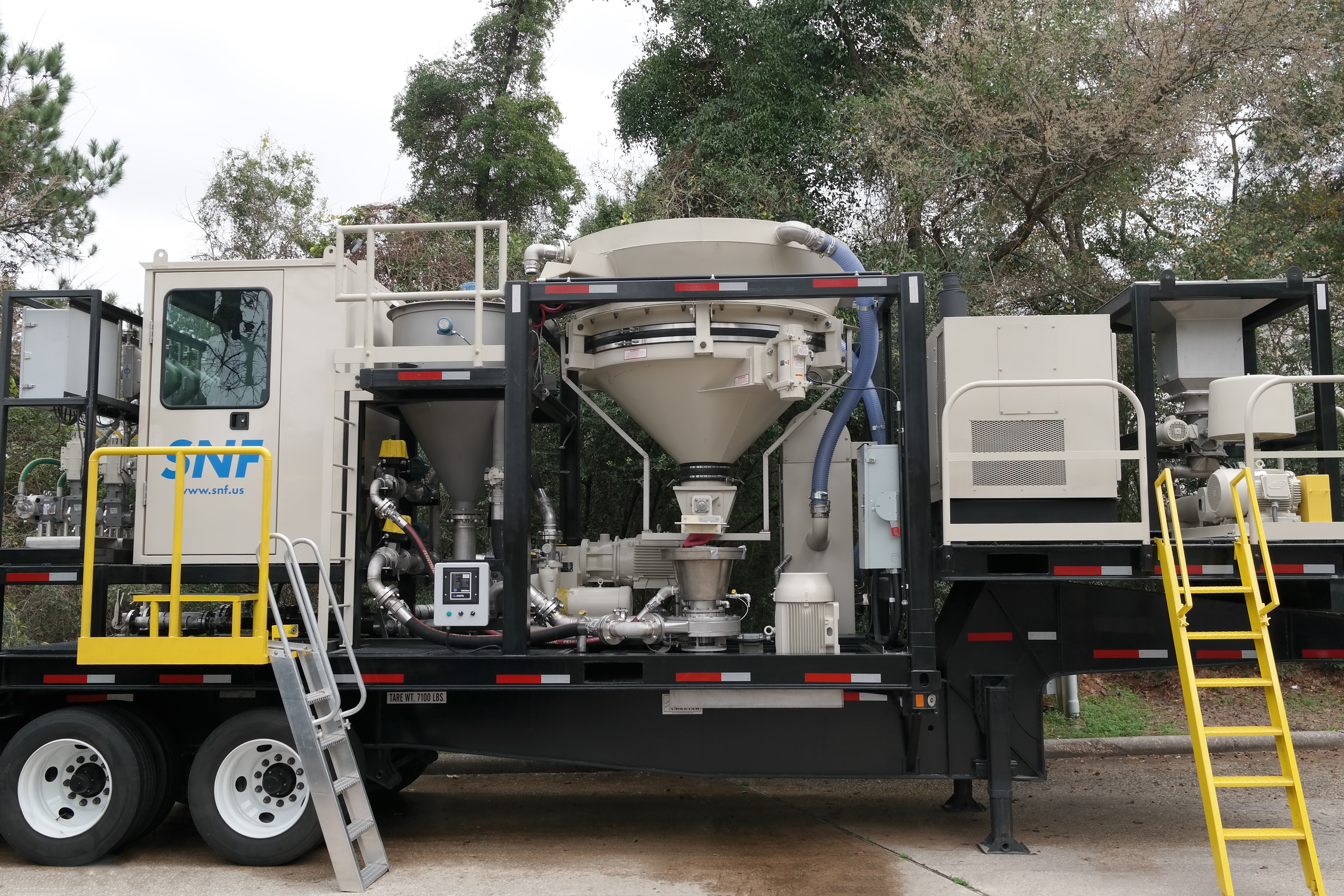 SNF's PowderFrac X Gen II mobile polymer dosing unit is used for slickwater fracturing.