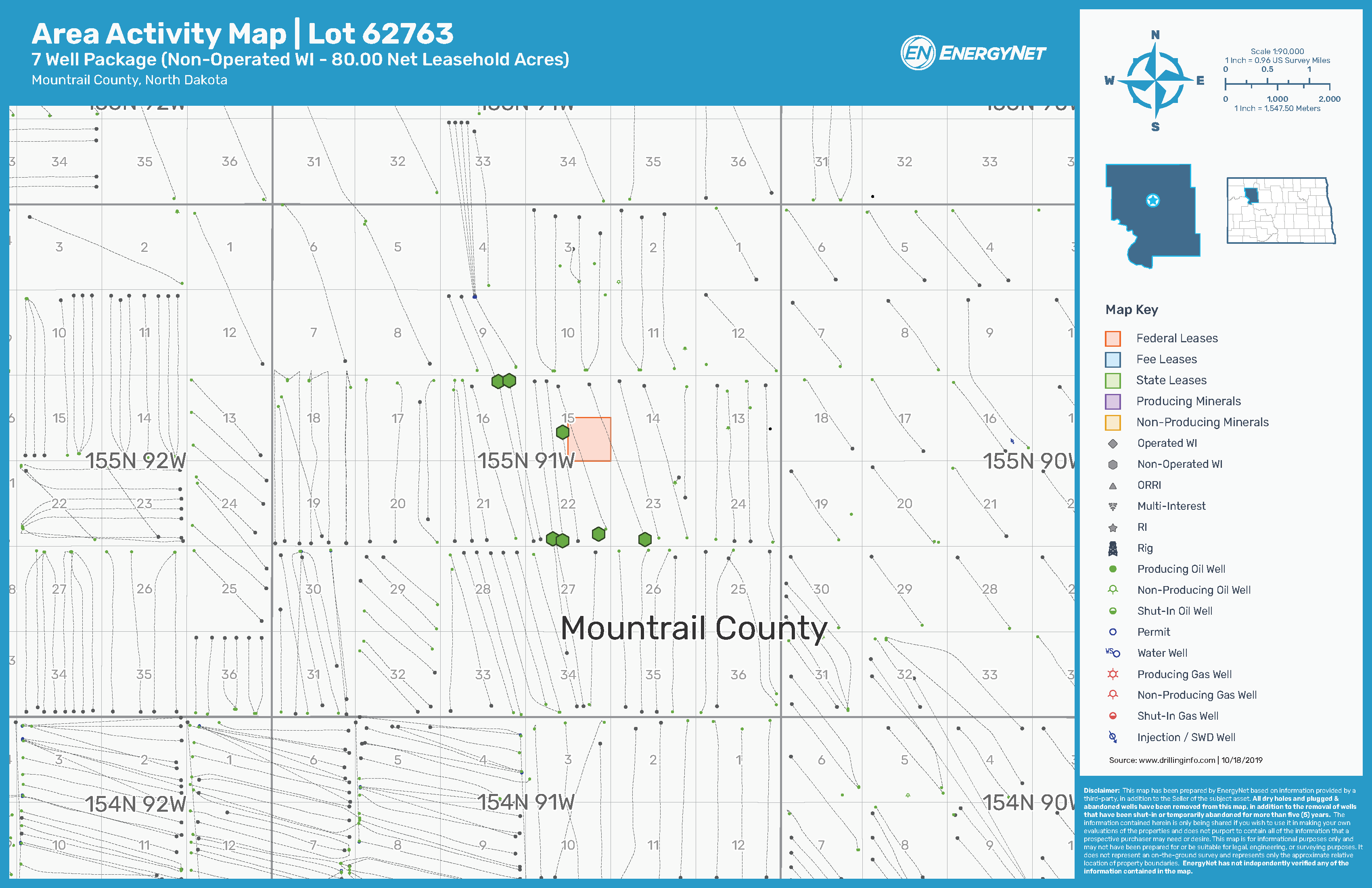 Salt Creek Oil and Gas Lot 62763 Asset Map, Bakken Shale, Mountrail County, North Dakota (Source: EnergyNet)