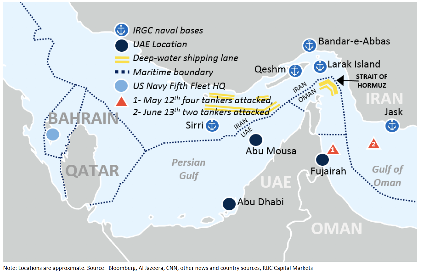 Analysts Tanker Bombings Point To More Us Iran Tension Oil Price - Us-navy-bases-worldwide-map